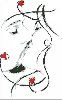 Черно белый поцелуй вышивка